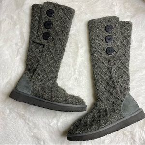 Ugg Charcoal Lattice Knit Cardy Boots Buttons